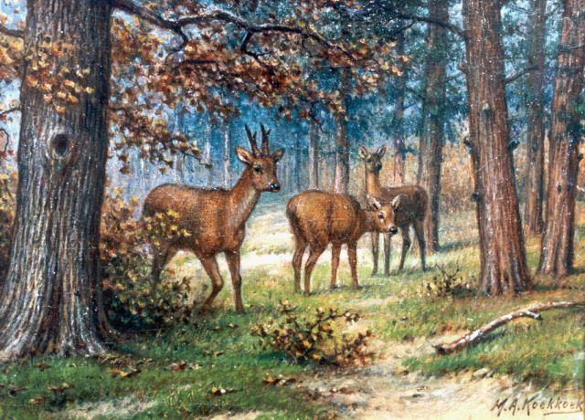 Marinus Adrianus Koekkoek II | Deer in a forest landscape, oil on canvas, 18.0 x 24.5 cm, signed l.r.