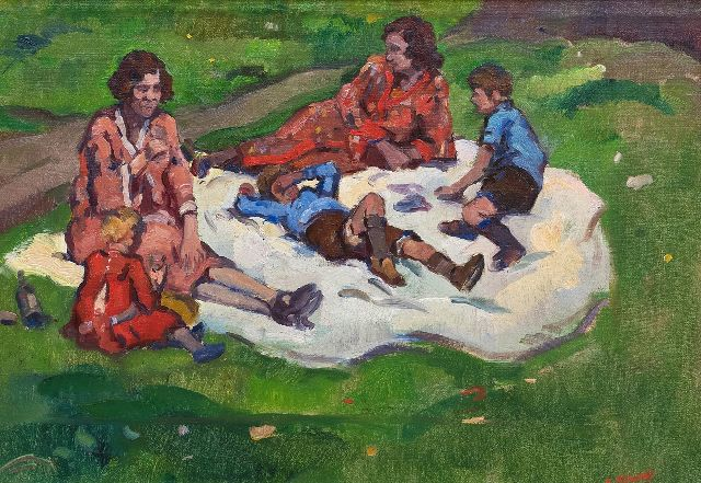 Noltee B.C.  | A summer picknick, oil on canvas 34.5 x 49.0 cm, signed l.r.