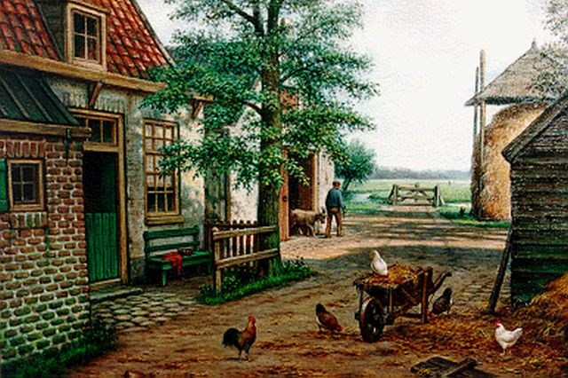 Marinus Adrianus Koekkoek II | Chickens on a yard, oil on canvas, 50.5 x 71.0 cm, signed l.l.