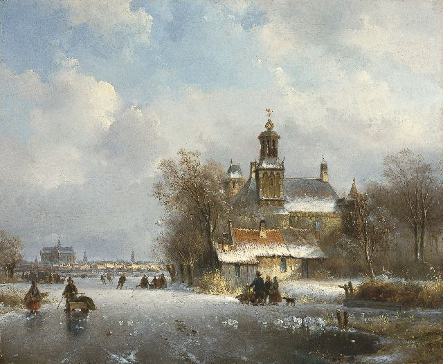 Lodewijk Johannes Kleijn | A winter landscape with the St. Bavo church in the distance, oil on panel, 34.7 x 42.3 cm, signed l.r.
