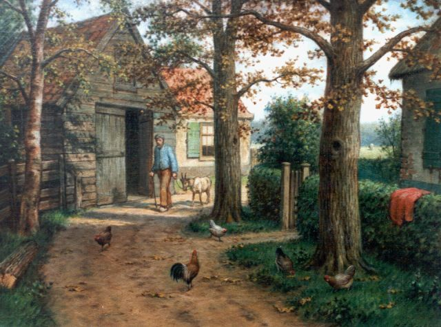 Marinus Adrianus Koekkoek II | Sand path at farm with chickens and farmer, oil on canvas, 30.5 x 40.2 cm, signed l.r.