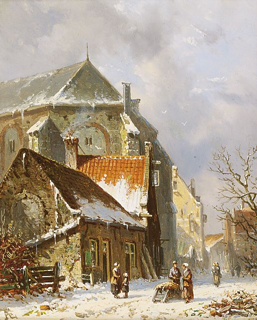 Adrianus Eversen | Figures in a snow-covered town, oil on panel, 19.1 x 15.2 cm, signed l.l. with monogram