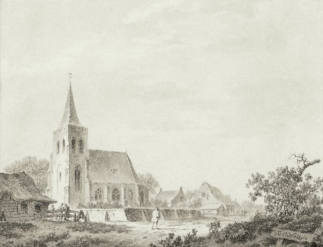 Barend Cornelis Koekkoek | A village church on a sandy path, pen, brush and ink on paper, 15.5 x 19.5 cm, signed l.r.