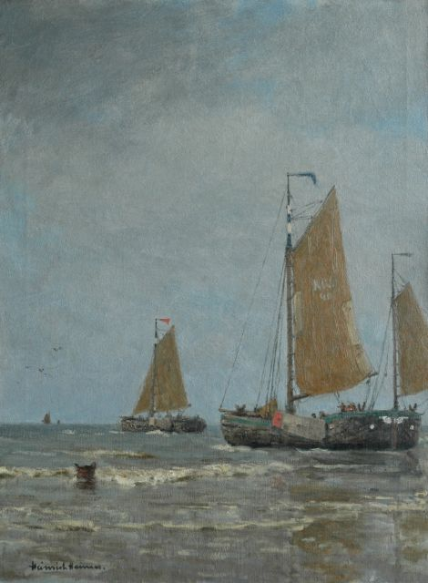 Heinrich Heimes | Fishing boats putting out to sea at Katwijk, oil on canvas, 80.1 x 60.1 cm, signed l.l.