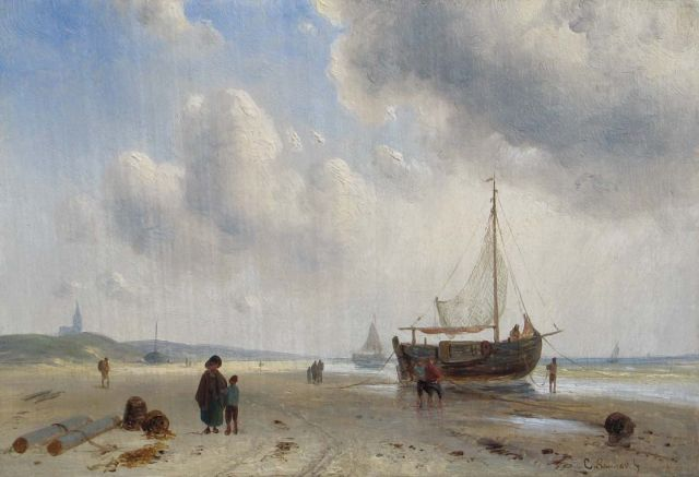 Charles Leickert | Barges and fishermen on the beach of Scheveningen, oil on panel, 15.8 x 23.2 cm, signed l.r.