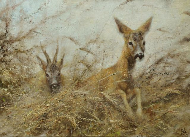 Rien Poortvliet | Two deer, oil on canvas, 50.2 x 69.9 cm, signed l.r.