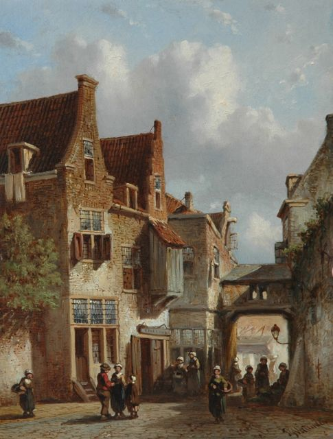 Petrus Gerardus Vertin | A village street in summer, oil on panel, 22.1 x 16.9 cm, signed l.r. and dated '61