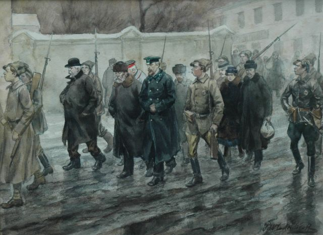 Ivan Alexejevitsj Vladimiroff | Carrying off the prisoners, watercolour and washed ink on paper, 25.5 x 34.5 cm, signed l.r. and dated 1918