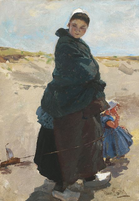 Hans von Bartels | Reverie: a fisherman's wife with her child on the beach of Katwijk, oil on canvas, 47.6 x 33.3 cm, signed l.r.