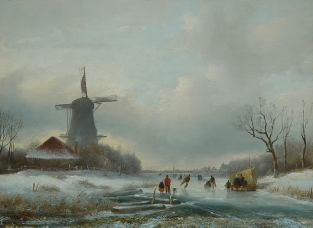 Jan Jacob Spohler | A winter landscape with skaters on a frozen canal, oil on panel, 29.6 x 40.5 cm