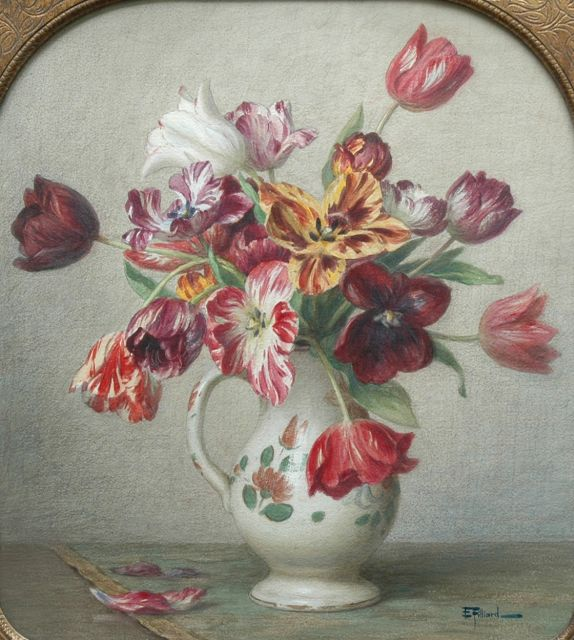 Ernest Filliard | Tulips in a vase, watercolour on paper, 57.6 x 51.9 cm, signed l.r.