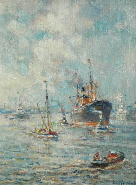 Evert Moll | The Rotterdam harbour, oil on canvas, 25.3 x 19.5 cm, signed l.r.