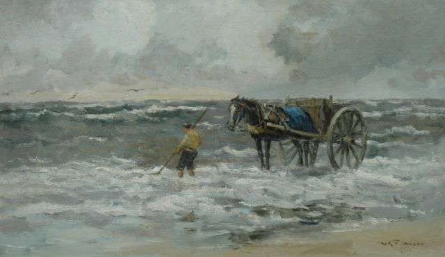 Willem George Frederik Jansen | A shell-fisher, oil on canvas, 59.0 x 100.2 cm, signed l.r.