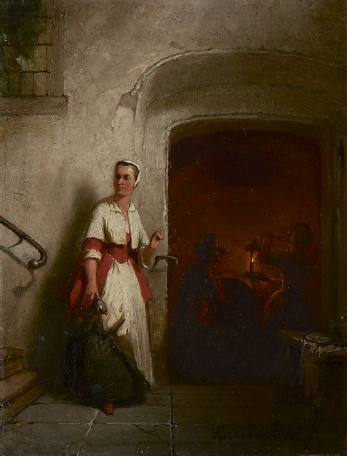 Hendricus Johannes Scheeres | In the wine cellar, oil on panel, 19.0 x 14.7 cm, signed l.r. and dated 1857