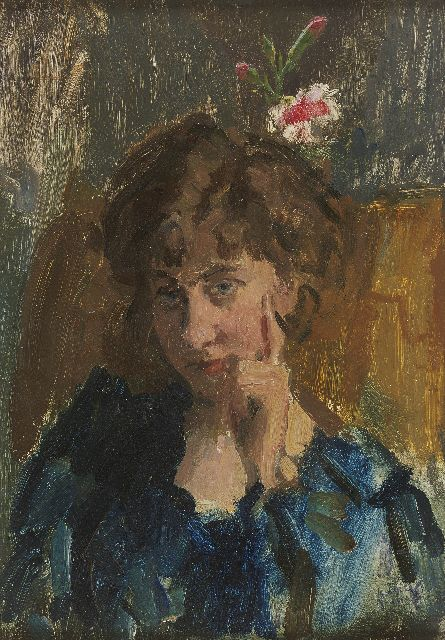 Isaac Israels | A portrait of the writer Jo de Wit, oil on panel, 35.5 x 25.0 cm, signed l.r.