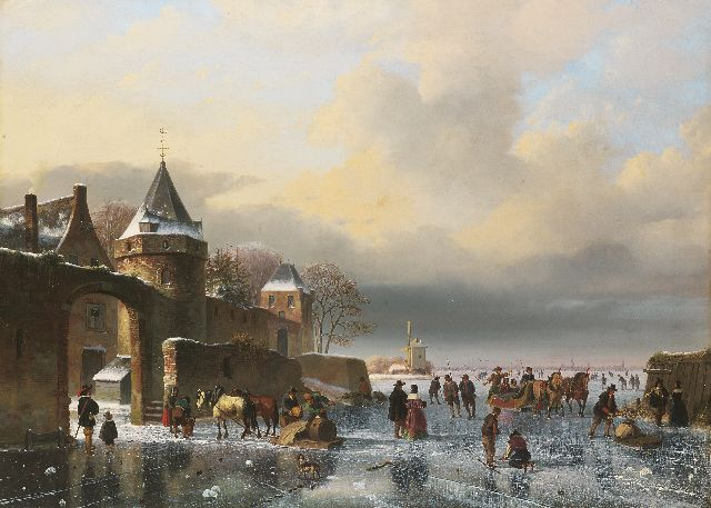 Nicolaas Johannes Roosenboom | A frozen river with skaters and horse-drawn sledges, oil on canvas, 67.0 x 93.7 cm, signed l.r.