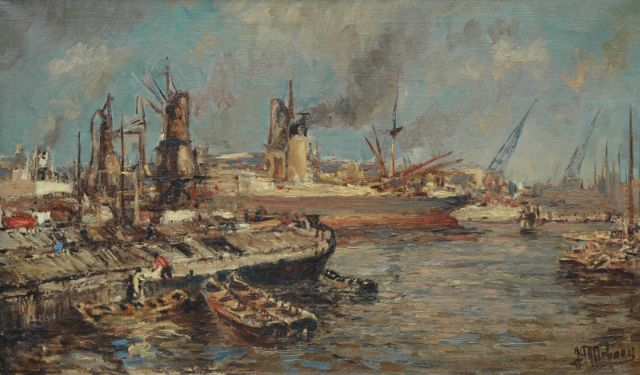 Joop Molenaar | The Rotterdam harbour, oil on canvas, 58.0 x 98.0 cm, signed l.r.