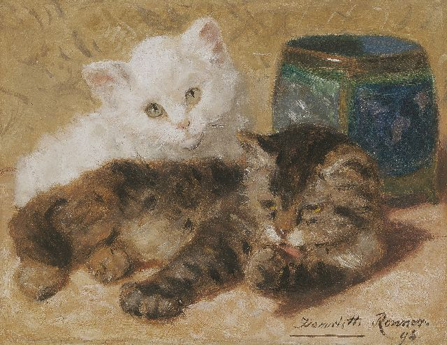 Henriette Ronner-Knip | Two kittens, oil on paper laid down on panel, 18.0 x 23.0 cm, signed l.r. and dated '96