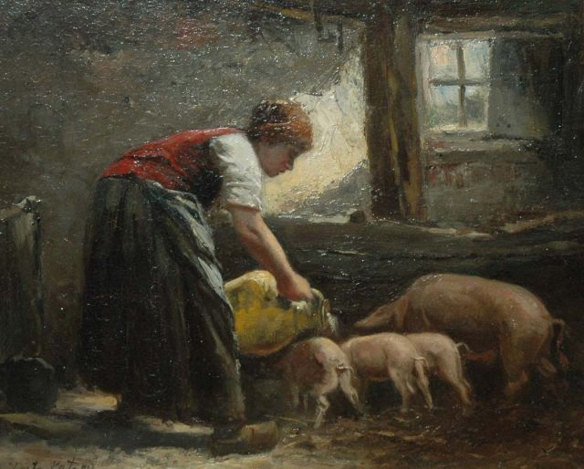 Johannes Marius ten Kate | Feeding time in the stables, oil on panel, 24.7 x 29.5 cm, signed l.l.
