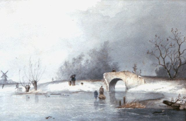 Louis Apol | A frozen river with skaters by a bowbridge, watercolour on paper, 22.3 x 32.3 cm, signed l.l. and painted ca. 1867