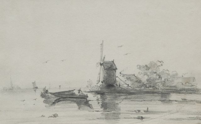 Andreas Schelfhout | A windmill along a river bend, pencil on paper, 16.8 x 24.6 cm, signed l.r. and painted 1848