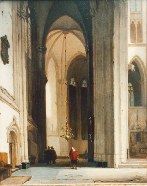 Jan Jacob Schenkel | A church interior, oil on panel, 30.4 x 24.5 cm, signed l.r.