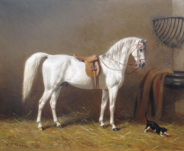 Willem Carel Nakken | A grey in it's stable, oil on panel, 39.7 x 48.0 cm, signed l.l. and dated 1897