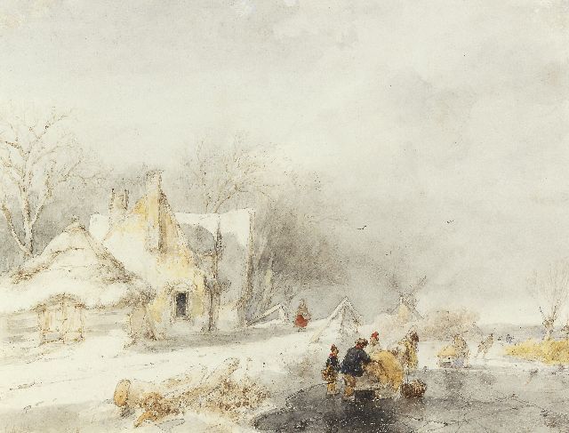 Andreas Schelfhout | Skaters in a frozen winter landscape, watercolour on paper, 20.9 x 26.4 cm, signed l.l. and painted 1848