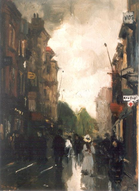 Floris Arntzenius | A view of 'De Korte Poten', The Hague, oil on panel, 29.0 x 20.7 cm, signed l.l.