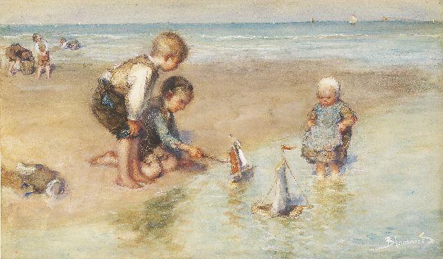 Bernard Blommers | Playing on the beach, watercolour and gouache on paper, 31.8 x 54.5 cm, signed l.r.