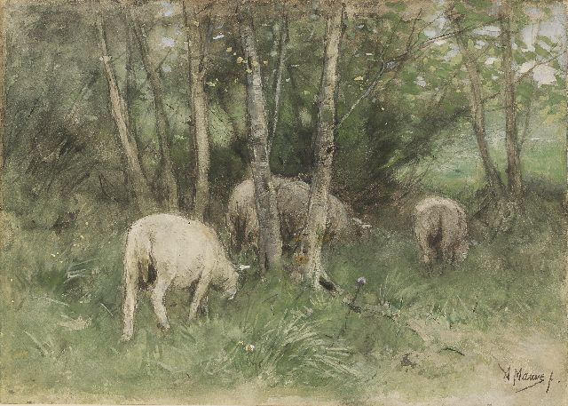 Anton Mauve | Grazing sheep among birch trees, pencil and watercolour on paper laid down on panel, 25.1 x 35.1 cm, signed l.r.
