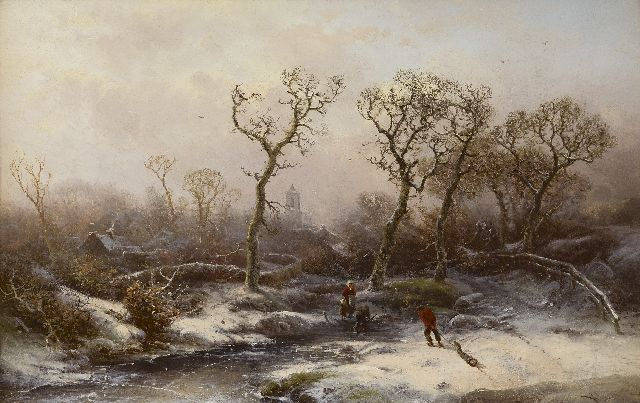 Pieter Kluyver | A winter landscape with wood gatherers, oil on panel, 30.8 x 47.6 cm, signed l.r.