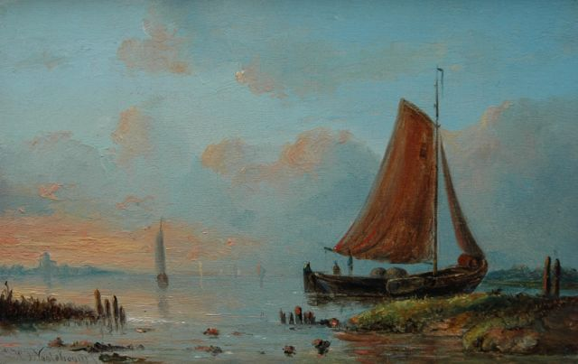 Nooteboom J.H.J.  | A moored fishing boat at sunset, oil on panel 11.0 x 17.4 cm, signed l.l.