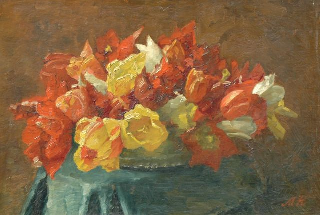 Marie Heineken | Red and yellow tulips, oil on canvas laid down on board, 37.2 x 53.9 cm, signed l.r. with tulips