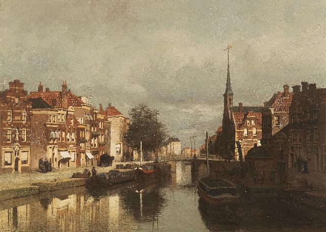 Johannes Christiaan Karel Klinkenberg | A canal scene with the Lutherse Kerk on the Noordeinde, Delft, oil on panel, 19.9 x 27.0 cm, signed l.r.