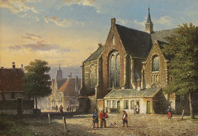 Willem Koekkoek | Figures on a village square, oil on panel, 21.5 x 31.2 cm, signed l.r. with initials and painted 1860
