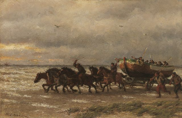Willem Carel Nakken | A life-boat of the National Life-Boat Society in full action, oil on panel, 34.5 x 52.5 cm, signed l.l.