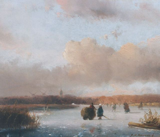 Petrus Marius Brouwer | A winter landscape, oil on panel, 16.5 x 19.0 cm, signed l.r.