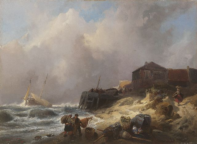 Wijnand Nuijen | Coastal scene in stormy weather, oil on panel, 37.7 x 51.7 cm, signed l.r. and dated '37