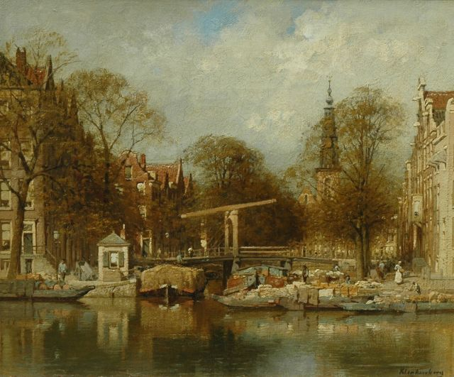 Karel Klinkenberg | View of the Groenburgwal, with the Zuiderkerk beyond, Amsterdam, oil on canvas, 40.0 x 48.0 cm, signed l.r.