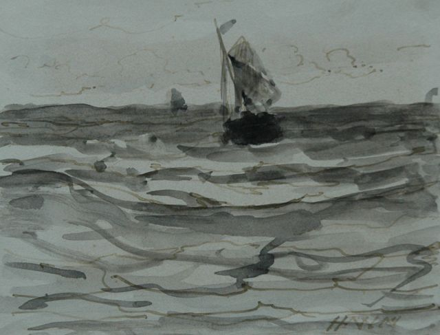 Hendrik Willem Mesdag | Fishing boat at sea, brush in black ink and watercolour on paper, 8.7 x 11.2 cm, signed l.r. with initials and dated 's January 1883'