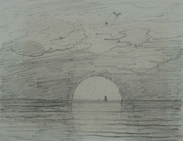 Hendrik Willem Mesdag | Sunrise: 'Guten Morgen', pencil on paper, 8.7 x 11.2 cm, painted 's January 1893' on reverse