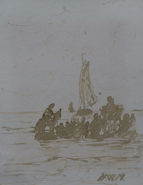 Hendrik Willem Mesdag | Awaiting the fleet, pen in brown ink on paper, 11.2 x 8.7 cm, signed l.r. with initials