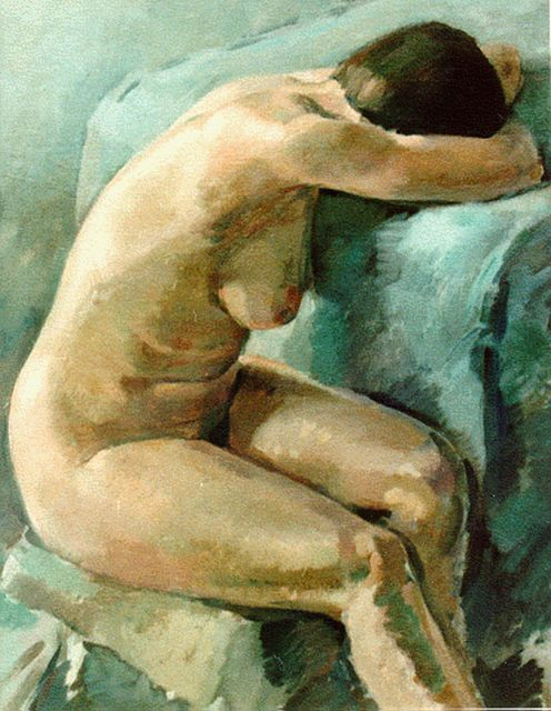 Aart van Dalen | A female nude, oil on canvas, 99.5 x 80.0 cm