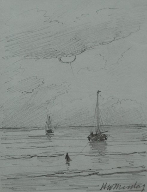 Hendrik Willem Mesdag | The returning fishing fleet, pencil on paper, 11.2 x 8.7 cm, signed l.r.