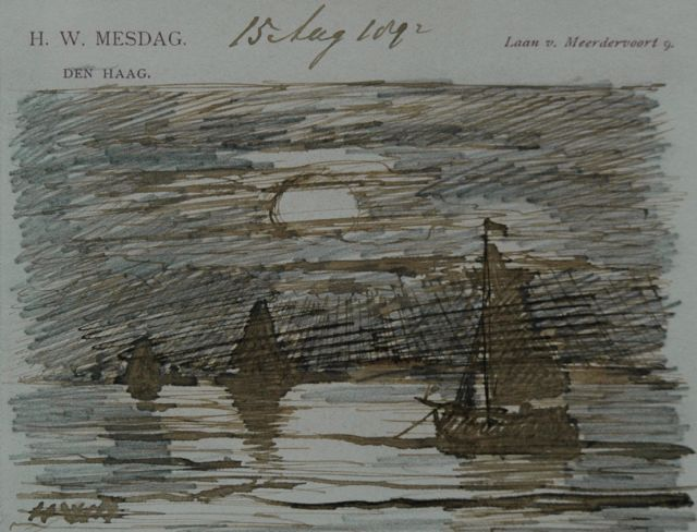 Hendrik Willem Mesdag | Ships at sunset, pencil, pen in brown ink on paper, 8.7 x 11.2 cm, signed l.l. with initials and dated August 15th 1892