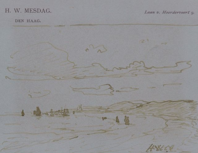 Hendrik Willem Mesdag | A view from the dunes, pen in brown ink on paper, 8.7 x 11.2 cm, signed l.r. with initials
