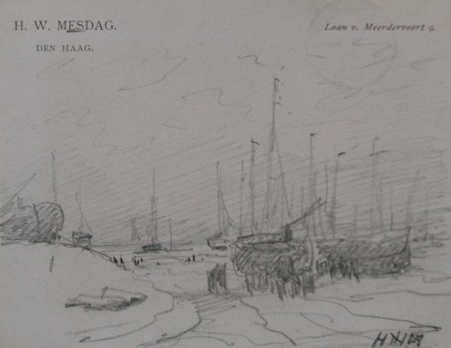 Hendrik Willem Mesdag | Fishermen and barges on the beach, pencil on paper, 8.7 x 11.2 cm, signed l.r. with initials