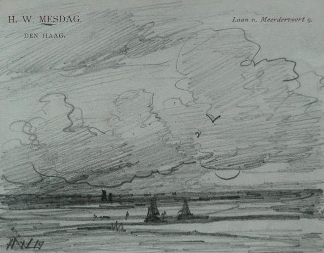Hendrik Willem Mesdag | A beach at sunset, pencil on paper, 8.7 x 11.2 cm, signed l.l. with initials
