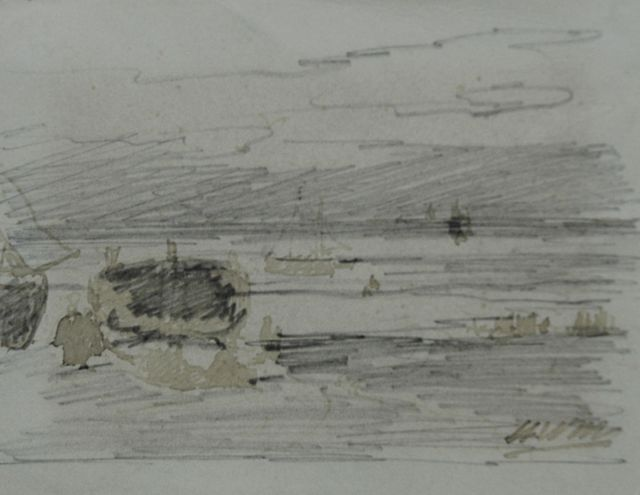 Hendrik Willem Mesdag | Fisherfolk and barges, pencil, pen in brown ink on paper, 8.7 x 11.2 cm, signed l.r. with initials